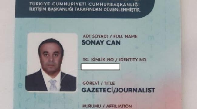 GAZETECİ SONAY CAN SÜREKLİ BASIN KARTINI ALDI